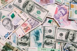 background of euro banknotes, banknotes of different countries