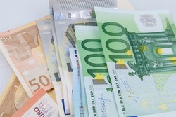 Background of euro bills / Euro bangnotes. isolated on white background.