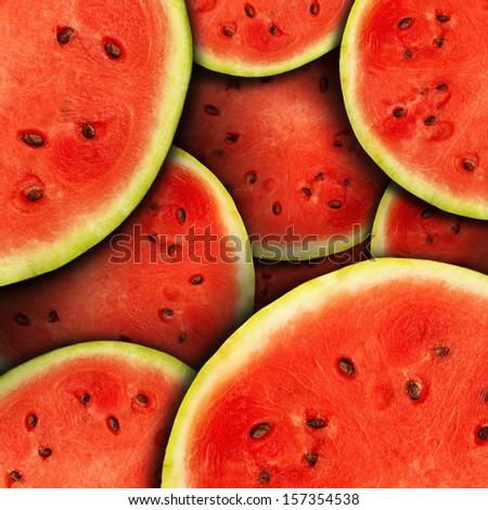 Background of fresh ripe watermelon slices - stock photo