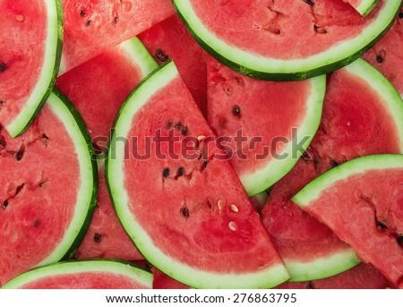 Background of fresh ripe watermelon slices