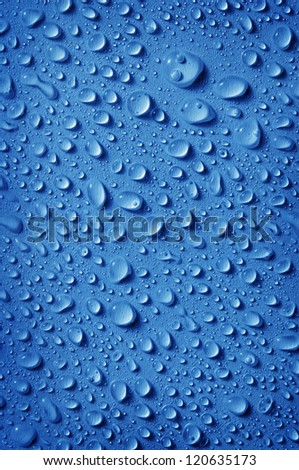 background of fresh water drops, in blue color