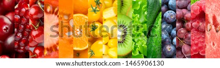 Background of fruits, vegetables and berries. Fresh food #1465906130
