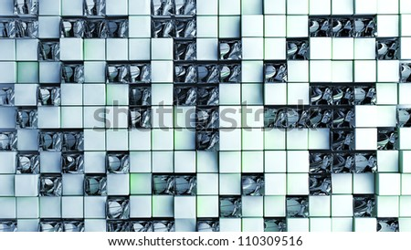 background of glass ice and white cubes