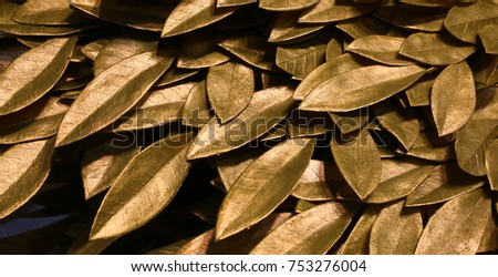 background of golden laurel leaves symbol of triumph and victory #753276004