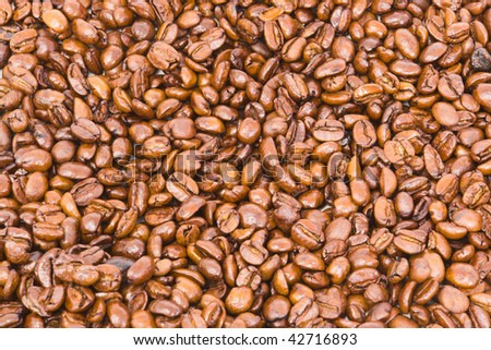 Background of gourmet freshly roasted coffee beans