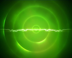 Background of green circle with a lightning in the middle