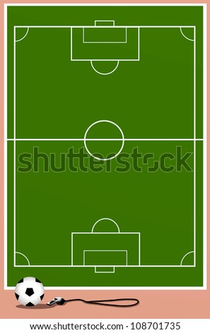 Background of Green Football Field or Soccer Field with Ball and Whistle