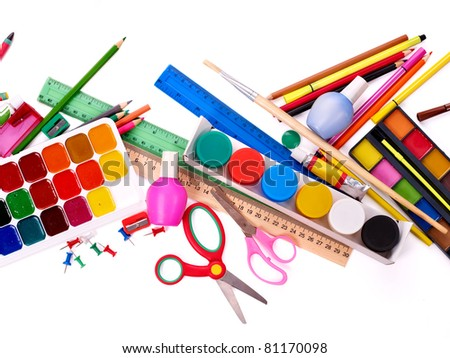 Background of group art school supplies.