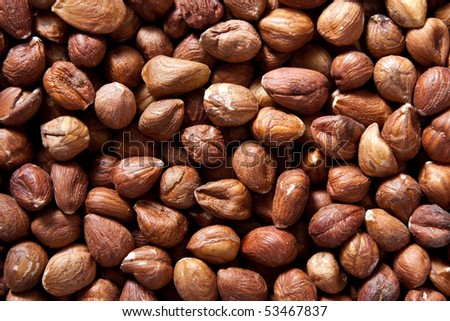 Background of hazelnuts: top view