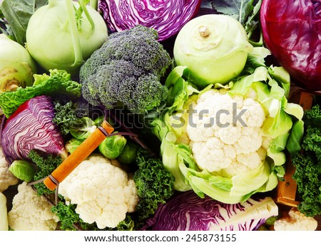 Background of healthy fresh cruciferous vegetables with brioccoli, cabbage, cauliflower, brussels sprouts kale and kohlrabi, close up full frame #245873155