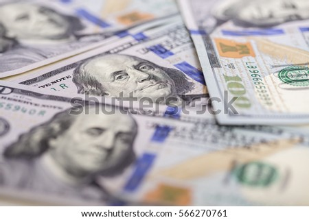 Background of  hundred dollar bills. close up view  cash  money