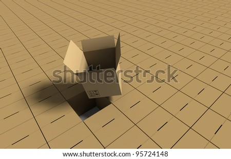 Background of hundreds of cardboard boxes with an open box