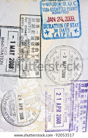 Background of immigration stamps on passport
