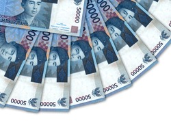 Background of 50000 Indonesian rupiah banknote,Group of money stack of 50000 Indonesian rupiah a lot of the background texture, top view