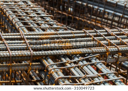 Background of Iron and bundled bars ready for construction with black and white color