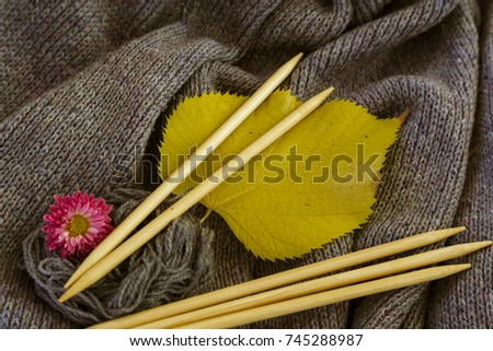 background of knitted gray linen of goat's wool made with knitting needles or on a knitting machine laid in big waves with wooden knitting needles, yellow aspen leaf and red chrysanthemum flower. #745288987