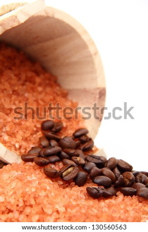 Background of large sea salt and beans