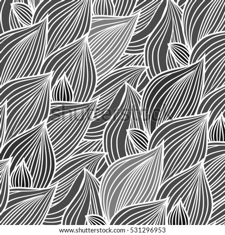 Background of leaves, freehand drawing, engraving style