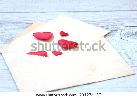 background of love letters with white wooden hearts  #201276137