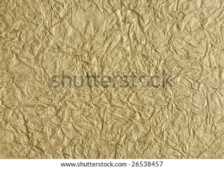 Background of metallic gold wrinkled rice paper