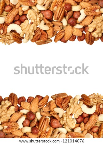 background of mixed nuts - pecans, hazelnuts, walnuts, cashews, almonds, pine nuts, pistachios, isolated in the middle, size 4 to 3