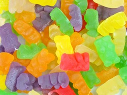Background of multicolored gummy bears