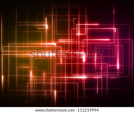 Background of multiple orange and pink geometric lights #112219994
