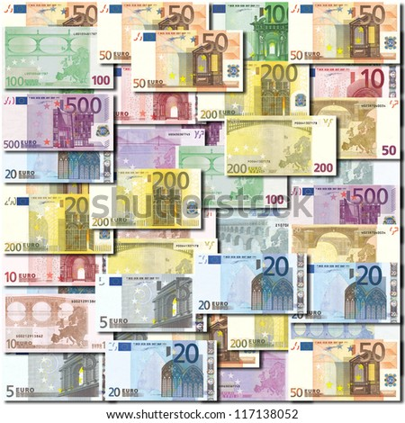 Background of neatly arranged Euro banknotes