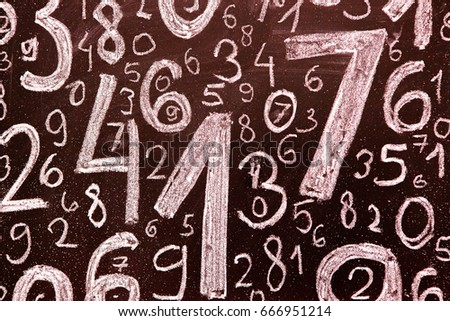 Background of numbers. from zero to nine. Background with numbers. Numbers texture. #666951214