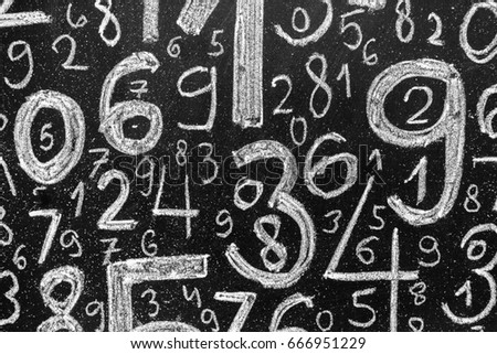 Background of numbers. from zero to nine. Background with numbers. Numbers texture. #666951229
