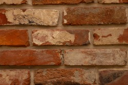 background of old brick wall close-up on the street