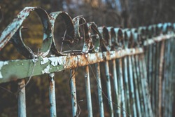 Background of old rustic iron fence