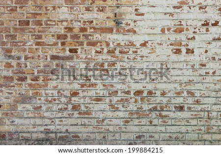 Background of old vintage dirty brick wall with peeling plaster, texture #199884215