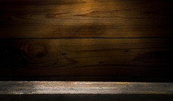 background of old wood and worn out old wood table. Empty space for product installation.