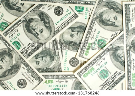 background of one hundred dollar bills - stock photo