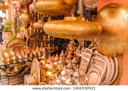Background of oriental lampshades in a souk. / Oriental lampshades