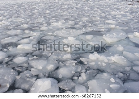 Background of pack ice in the harbour of Nyborg, Denmark in january.