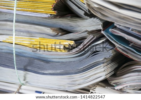background of paper textures piled ready to recycle - Image