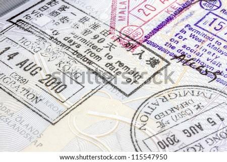 Background of passport stamps closeup