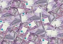 Background of 100 Piso banknote,Group of money stack of 100 Philippine Switzerland banknote a lot of the background texture, top view