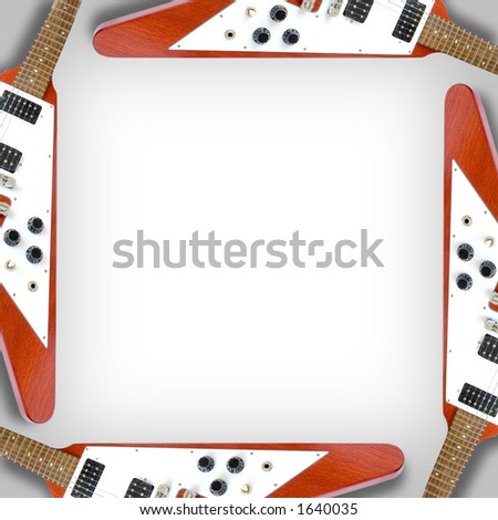 """Background Of """"Flying V"""" Guitars With Area For Text - stock photo"""
