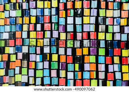 background of Rainbow of colorful cubes or squaer on black backdrop #490097062