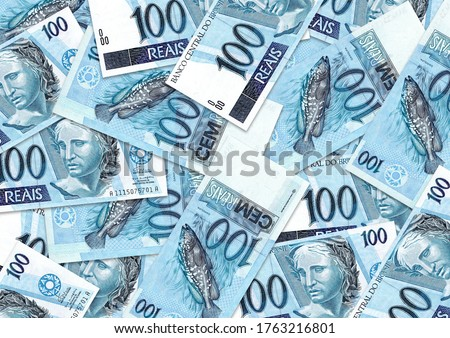 Background of 100 reais banknote,Group of money stack of 100 reais Brazil banknote a lot of the background texture, top view Foto stock ©