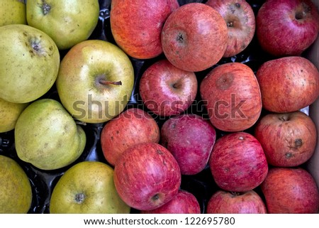 Background of red and green apples