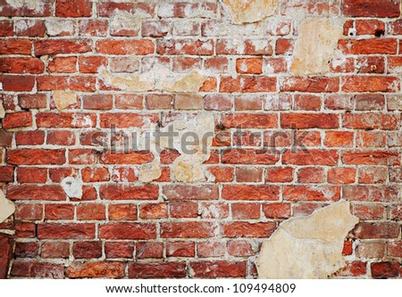 background of red old brick wall