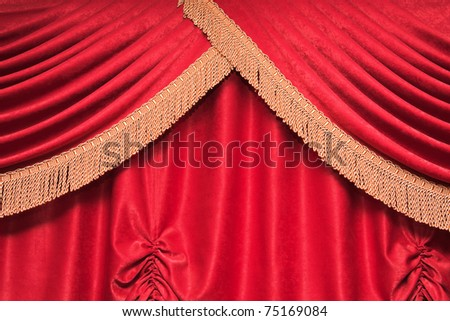 Background of red theater curtain with pleats