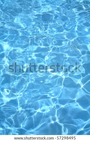 Background of rippled pattern of clean water in blue swimming pool
