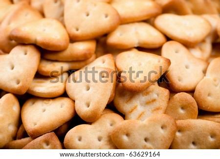 Background of salted heart shaped crackers