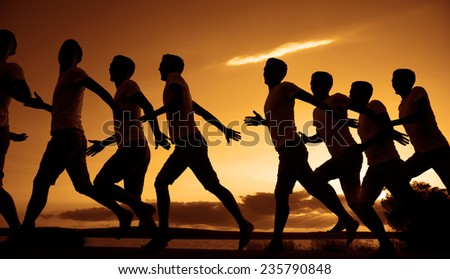 Background of Same man movement Phases Group of people silhouette on jetty over sunset and dramatic yellow orange sky with clouds against water texture and mountain background Sport lifestyle