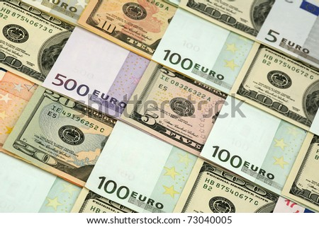 Background of several denominations - euro and dollars